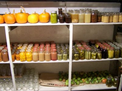 The canning shelf in the cold room