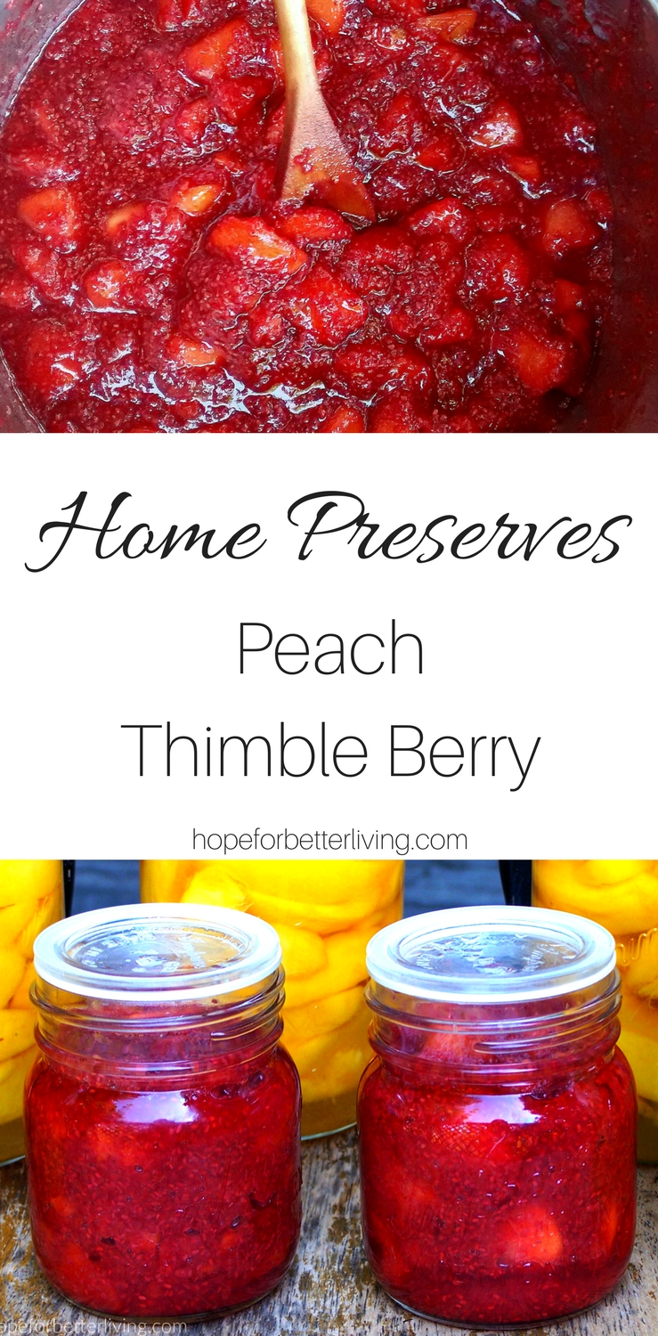 Forage thimble berry and combine it with ripe peaches for a delicious home canned recipe!