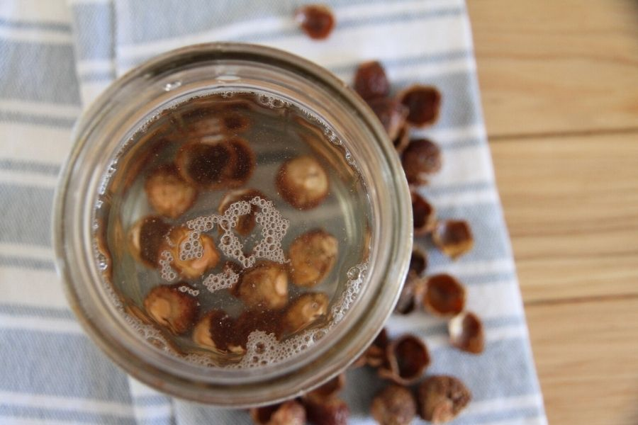 Soap nuts soaking in vinegar, creating a natural bathroom cleaner