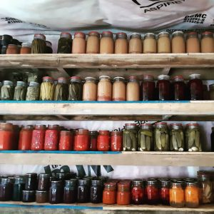 Jars and jars of canned food on shelves