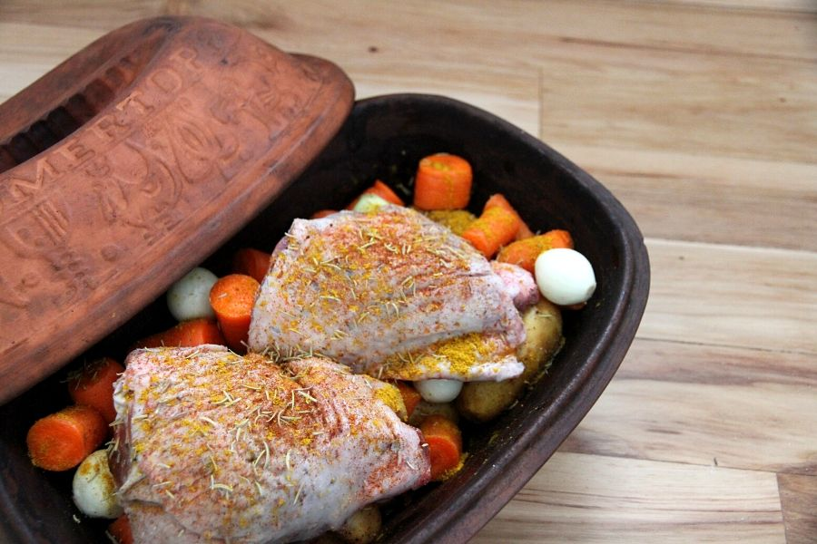 diced vegetables and baked chicken make a hearty, frugal meal!