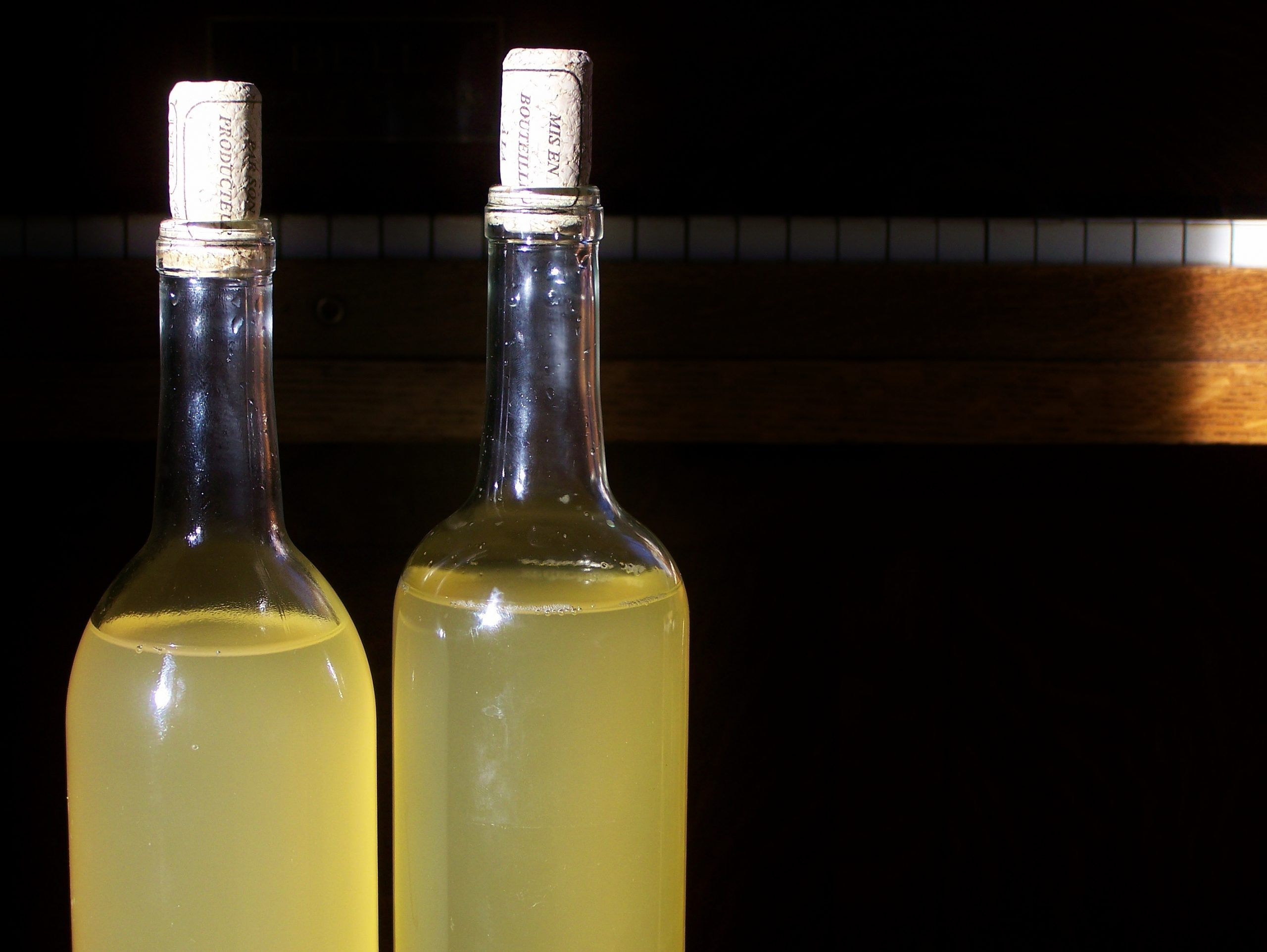 Raw grape vinegar, bottled and ready for use