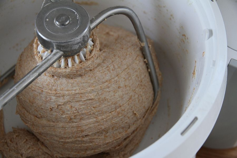 Smooth and elasticy bread dough in a Bosch mixer