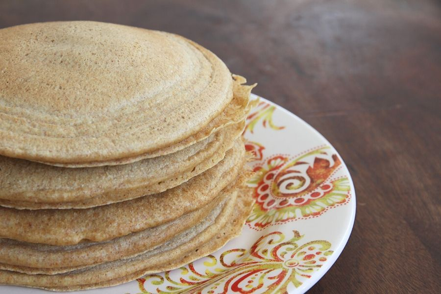 A stack of hot, whole wheat pancakes