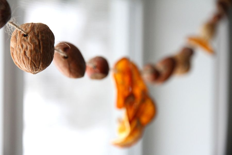 a string of nuts and oranges hanging in front of a kitchen window