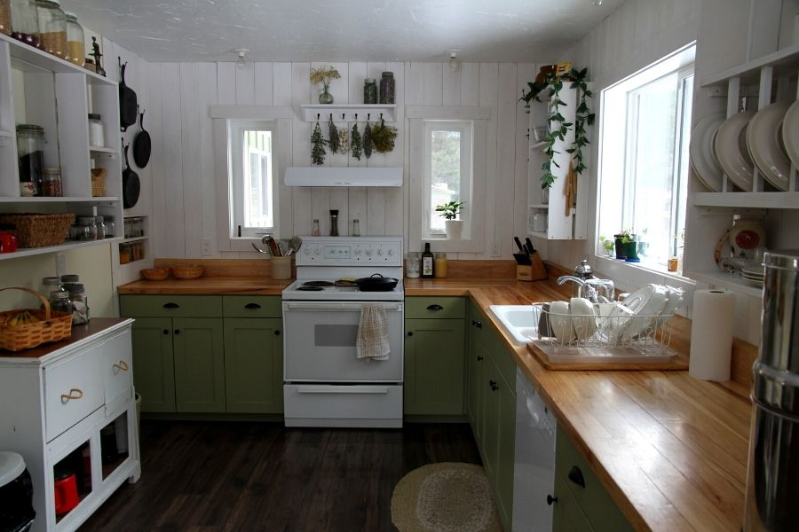 a full room shot of our tongue and groove hardwood kitchen countertops