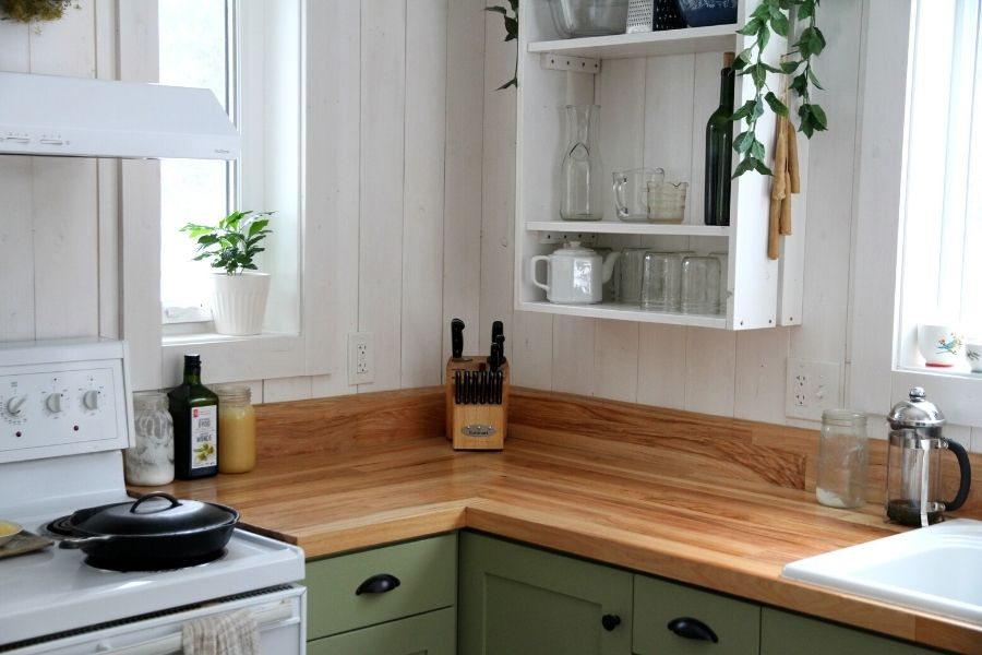 the adjoining corners of our homemade hardwood kitchen countertops