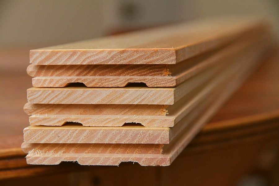 a stack of hickory hardwood flooring, ready to be put donw
