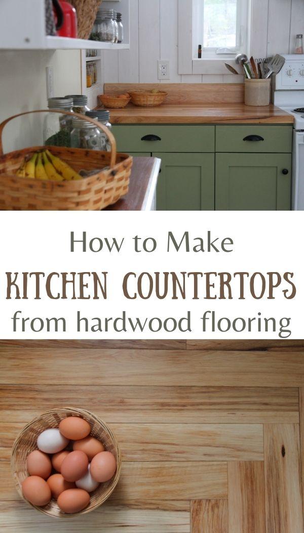 DIY wood kitchen countertops made from hardwood flooring