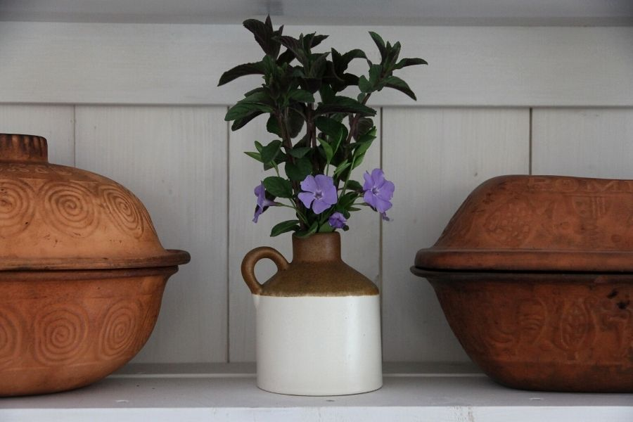 a small stoneware jug with mint and purple blossoms