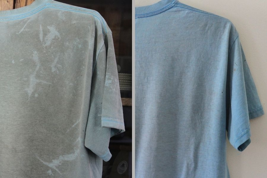 This before and after shows why you should avoid using homemade soap in your washing machine