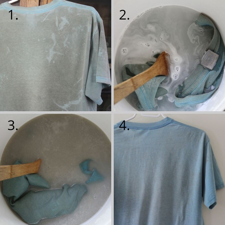A blue shirt being stripped and coming out clean