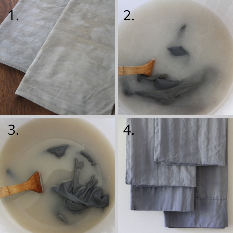 Four photos of laundry being stripped, showing how to strip your laundry of buildup
